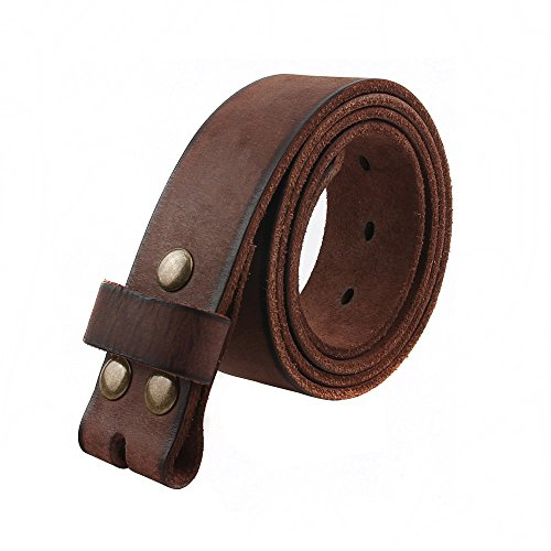 NPET Mens Leather Belt Full Grain 100% Leather Vintage Distressed Style Snap on Strap 1 1/2