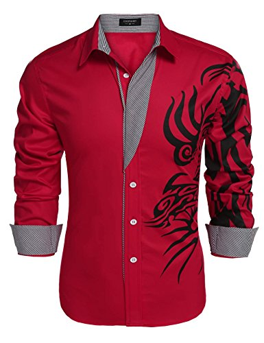 JINIDU Men's Solid Point Collar Print Button Down (Tribal Button Down Shirt)