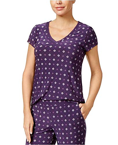 Alfani Printed Chiffon-Trim Pajama Top, Purple Plumeria, X-Small