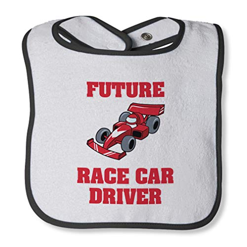 (Future Race Car Driver Cotton Boys-Girls Baby Terry Bib Contrast Trim - White Black, One Size)