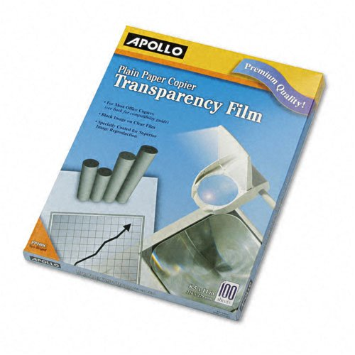 Apollo : Laser Copier Transparency Film, Letter, Clear, 100 per Box -:- Sold as 2 Packs of - 100 - / - Total of 200 Each