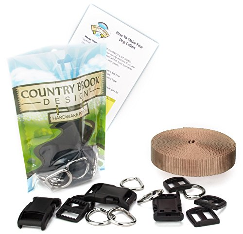 Country Brook Design 5/8 Inch Deluxe Dog Collar Kit with Copper Gold Nylon Webbing