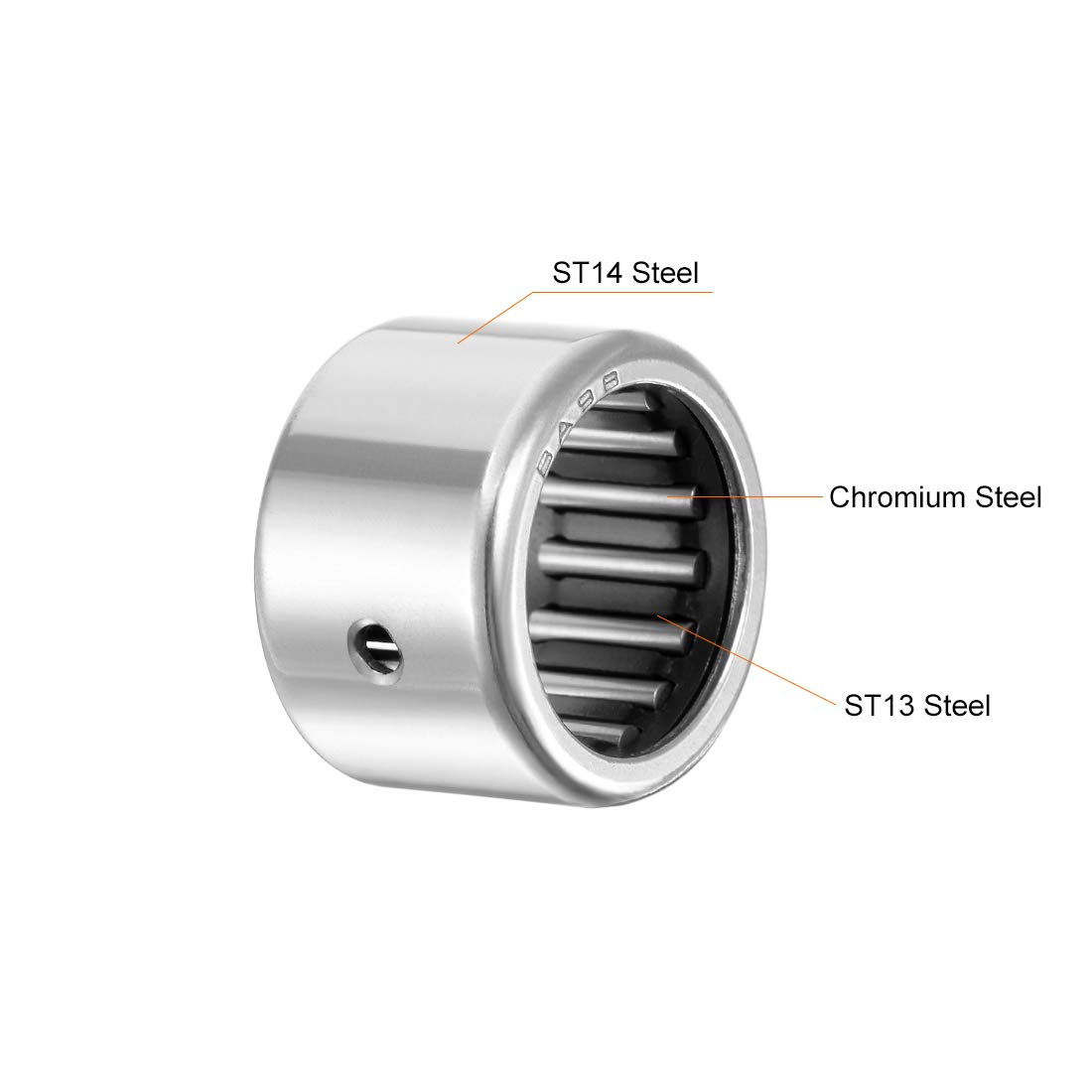 uxcell SCE812 Needle Roller Bearings 1//2-inch Bore 11//16-inch OD 3//4-inch Width Chrome Steel Open End