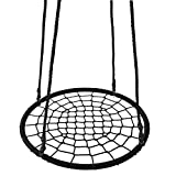 HomGarden Outdoor 24'' Round Spider Web Tree Swing Net Swing Platform Adjustable Hanging Ropes Saucer Swing Detachable Swivel Playground, Fun for Kids