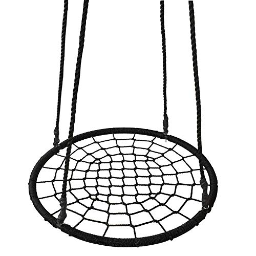 HomGarden Outdoor 24'' Round Spider Web Tree Swing Net Swing Platform Adjustable Hanging Ropes Saucer Swing Detachable Swivel Playground, Fun for Kids by HomeGarden