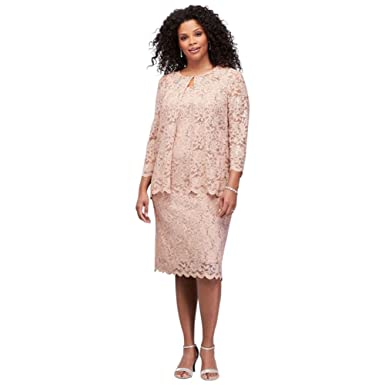 Short Sequin Lace Plus Size Mother Of Bridegroom Dress With Jacket