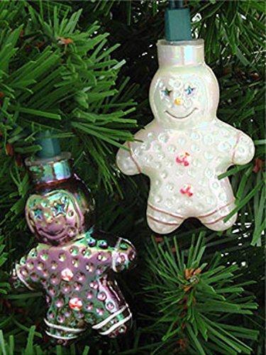 Set of 10 Gingerbread Man Novelty Christmas Lights - Green W