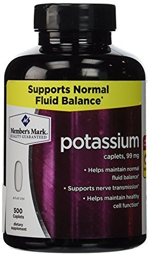 Member's Mark Formerly Simply Right Potassium Caplets – 500ct [595mg Potassium Gluconate] [99mg Potassium] (Pack of 3)