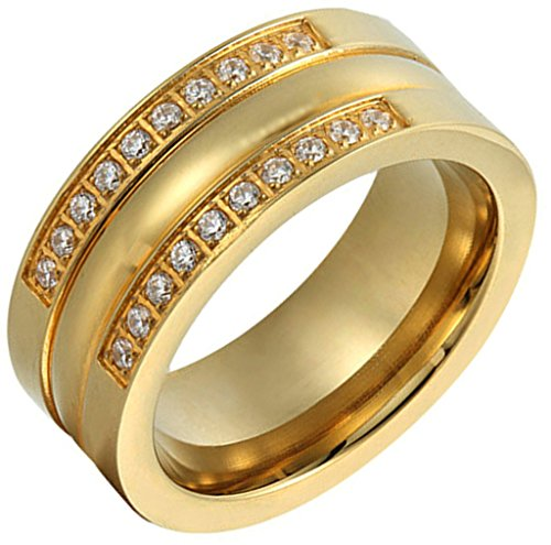 ANAZOZ Women's Rings Gold Plated Stainless Steel 2 Series Cubic Zirconia Size 6 ()
