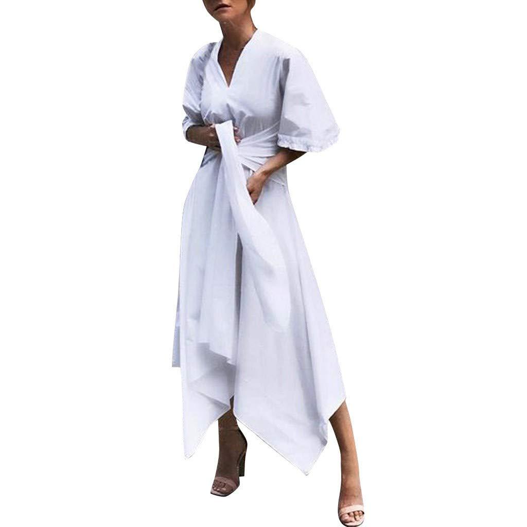 Sunmoot Clearance Sale Cocktail Prom Linen Women T-Shirt Dress, Plain Simple Split Vintage Solid V-Neck Long Dresses White by Sunmoot Clearance Sale