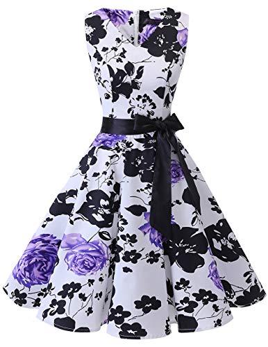- Bridesmay Women's V-Neck Audrey Hepburn 50s Vintage Elegant Floral Rockabilly Swing Cocktail Party Dress White Purple Flower M