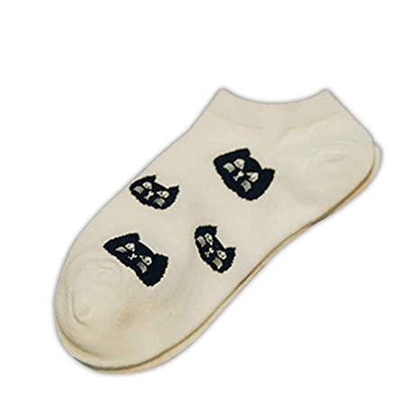 LUFA Las Mujeres Gato Impreso Escotado de la Altura del Tobillo Calcetines algodón de Dibujos Animados