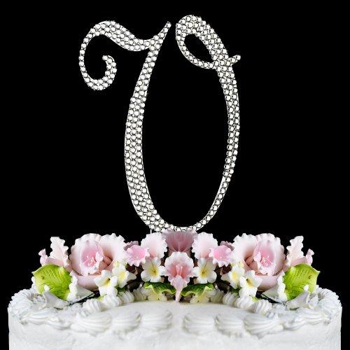 Completely Covered Swarovski Crystal Silver Wedding Cake Toppers ~ LARGE Monogram Letter V by RaeBella Weddings & Events New York (Cake Basket Silver)