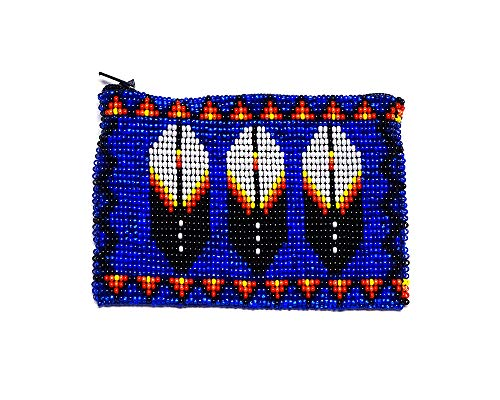 Handmade Native American Style Triple Feather Tribal Seed Bead Zipper Coin Purse Change Pouch (Blue)