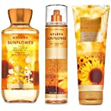 Bath and Body Works Golden Sunflower Body Care Set. Shower Gel 10 Fl Oz, Fine Fragrance Mist 8 Fl Oz and Body Cream 8 Fl…