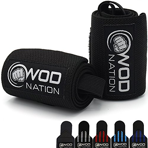WOD Nation Wrist Wraps by Wrist Support Straps (12, 18 or 24) - Fits Both Men & Women - Strength Training, Weightlifting, Powerlifting - Lift Heavier Weight (18 Inch - Black)