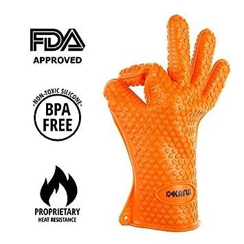 kaflix barbacoa cocinar guantes – guantes de silicona resistente al calor & Resistente al agua para