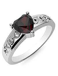 1.35ctw, Genuine Garnet 7x7mm Heart & Solid .925 Sterling Silver Rings