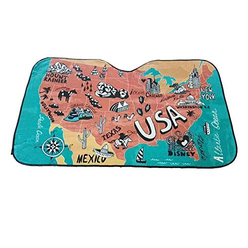 (DPIST United States America Map Car Windshield Sun Shade Universal Fit Car Sunshade-Keep Your Vehicle Cool. UV Sun and Heat Reflector)