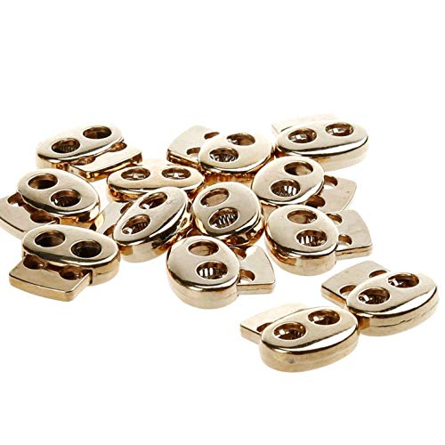 COTOWIN Pack of 12 Gold Color Metal Toggle Spring Stop Double Holes String Cord Locks (4mm Cord)