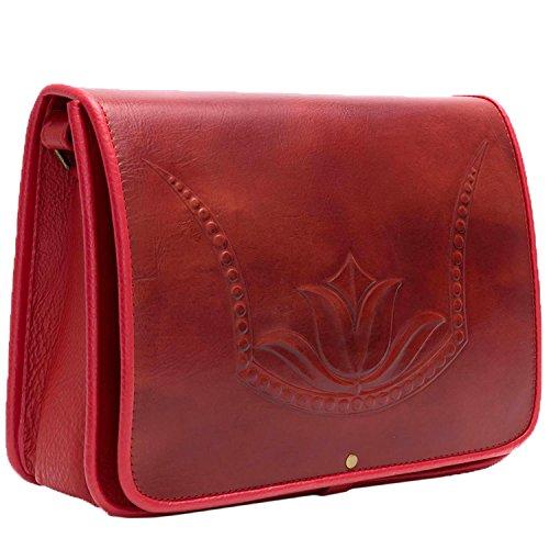 Koson del tulipano rosso modellata a mano borsetta a tracolla messenger bag
