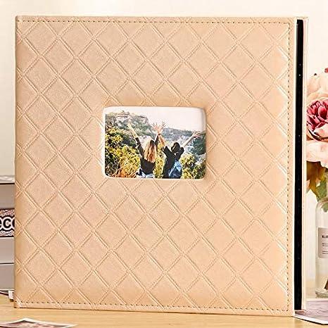 Color : Red HIZLJJ /Álbum de Fotos para 600 4x6 Fotos Cubierta de Cuero Capacidad Extra Grande para el Aniversario de Boda Familiar Vacaciones Retro /Álbum de Fotos intersticial /Álbum de Memorial