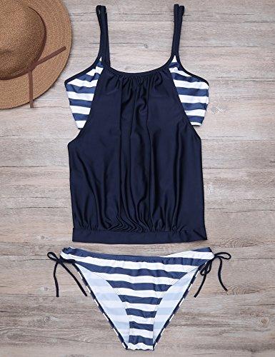 Teamyy Conjunto de Bikini ropa de baño de encaje hueco traje de baño de las mujeres Azul oscuro