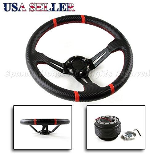 96-00 Honda Civic EK USA Deep Dish Carbon Fiber Pattern Red Stitched Steering Wheel + Hub Boss