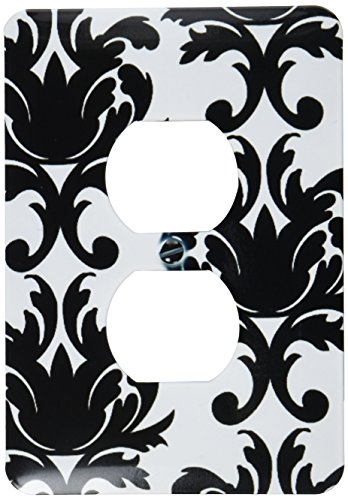 3dRose lsp_116425_6 Large Elegant Black and White Damask Pattern Design Light Switch Cover