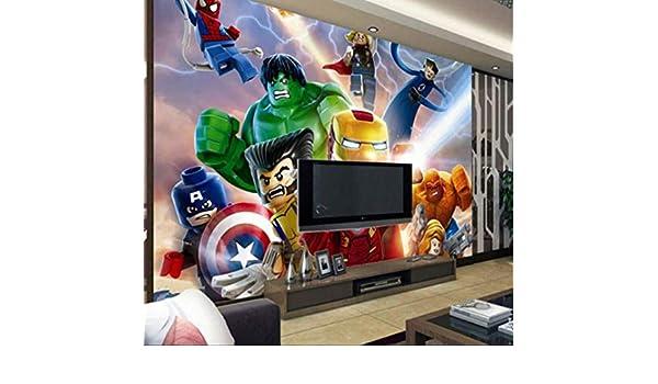 Foto Personalizada 3d Lego Vengadores Fondos De Pantalla Niños Dibujos Animados Animación Niños Dormitorio Habitación Decoración Tv Fondo De Pared Cubierta Ancho 200cm * Altura140cm Un: Amazon.es: Bricolaje y herramientas
