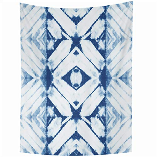 AlliuCoo Wall Tapestries 60 x 80 Inches Blue Ink Abstract Batik Tie Dyed Indigo Color White Hand Dye Fabrics Shibori Dyeing Watercolor Home Decor Wall Hanging Tapestry Living Room - Fabric Batik Hand Dyed