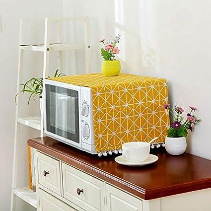 Cubierta de lino de estilo moderno Cubierta a prueba de polvo de microondas Campana de horno de microondas Decoración para el hogar Toalla de microondas con bolsa Suministros para el hogar - Amarillo
