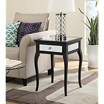 Convenience Concepts Milan Mirrored End Table, Black