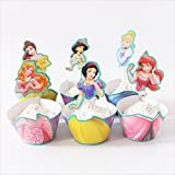 Disney Princesses 6 Deigns of Paper Cupcake Wrappers Toppers For Kids Party Birthday Decoration Cake Cups(12 wraps+12 topper) by TopStuffsz (Serve 12)