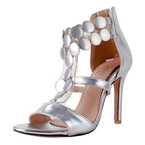 Soiree Sandales JOJONUNU Aiguille Femmes Silver wfqUHnaX8