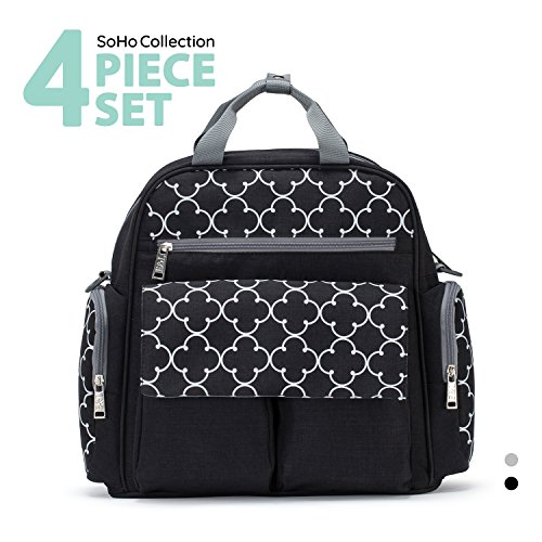 SoHo diaper bag backpack Bedford Ave 4 piece set nappy tote