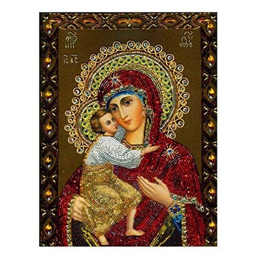 (Noopvan 5D Diamond Painting, DIY Diamond Embroidery Painting Cross Stitch Kit Madonna Russian 5D Diamond Painting Embroidery Set Art Wall Decor (B, 30X40))
