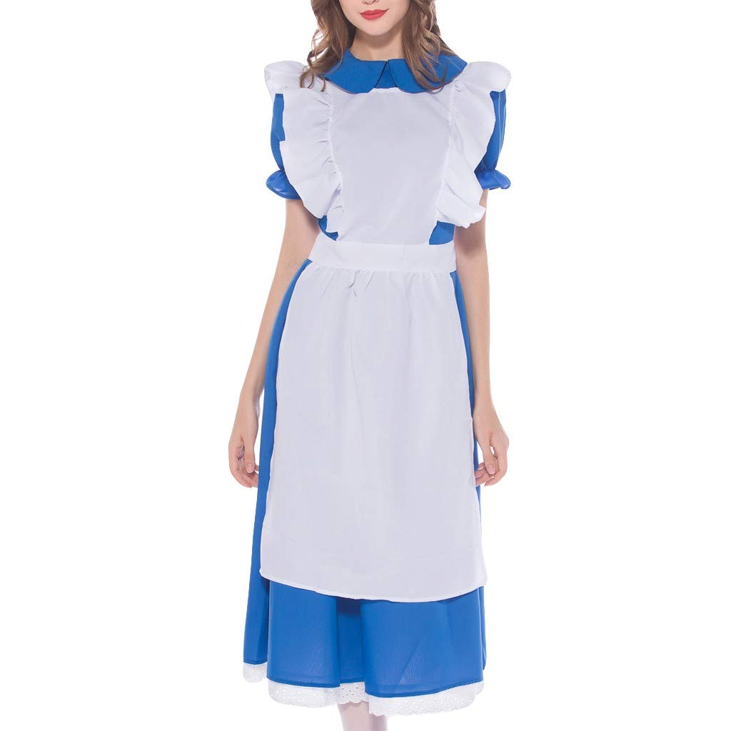 Women's Beer Festival Dress 3-Piece Bavarian Beer Festival Cosplay Maid's Costumes (Blue, M)