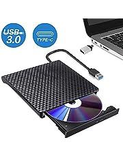 Lecteur Graveur CD DVD Externe, USB 3.0 Type C Dual Port Portable DVD Externe CD Enregistreur RW/ROM pour Windows10/8/7 Linux Laptops PC