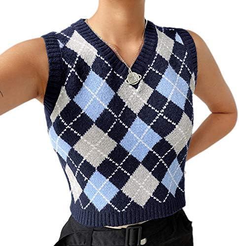 Ebu Gogo Women's Preppy Style Argyle Sleeveless V Neck Knitted Sweater Vest Crop Tank Top