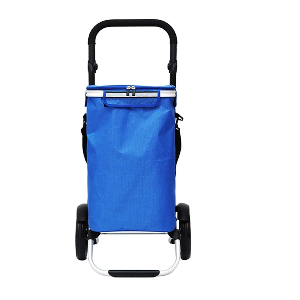 Xilinshop Portable Utility Carts Aluminum Alloy Shopping Cart 8 Inch Wheel Full Car Foldable Shopping Cart Home Grocery Shopping Cart ( Color : A )