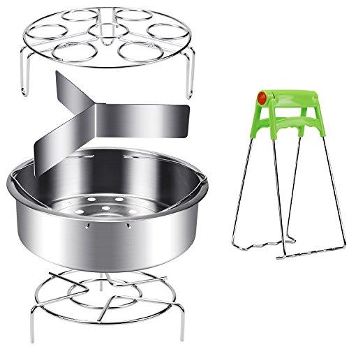 Steamer Basket for Instant Pot 6, 8qt Pressure Cooker, HULISEN 18/8 Stainless Steel Steamer Insert Set with Egg Steamer Rack, Trivet Stand and Tong Plate Gripper
