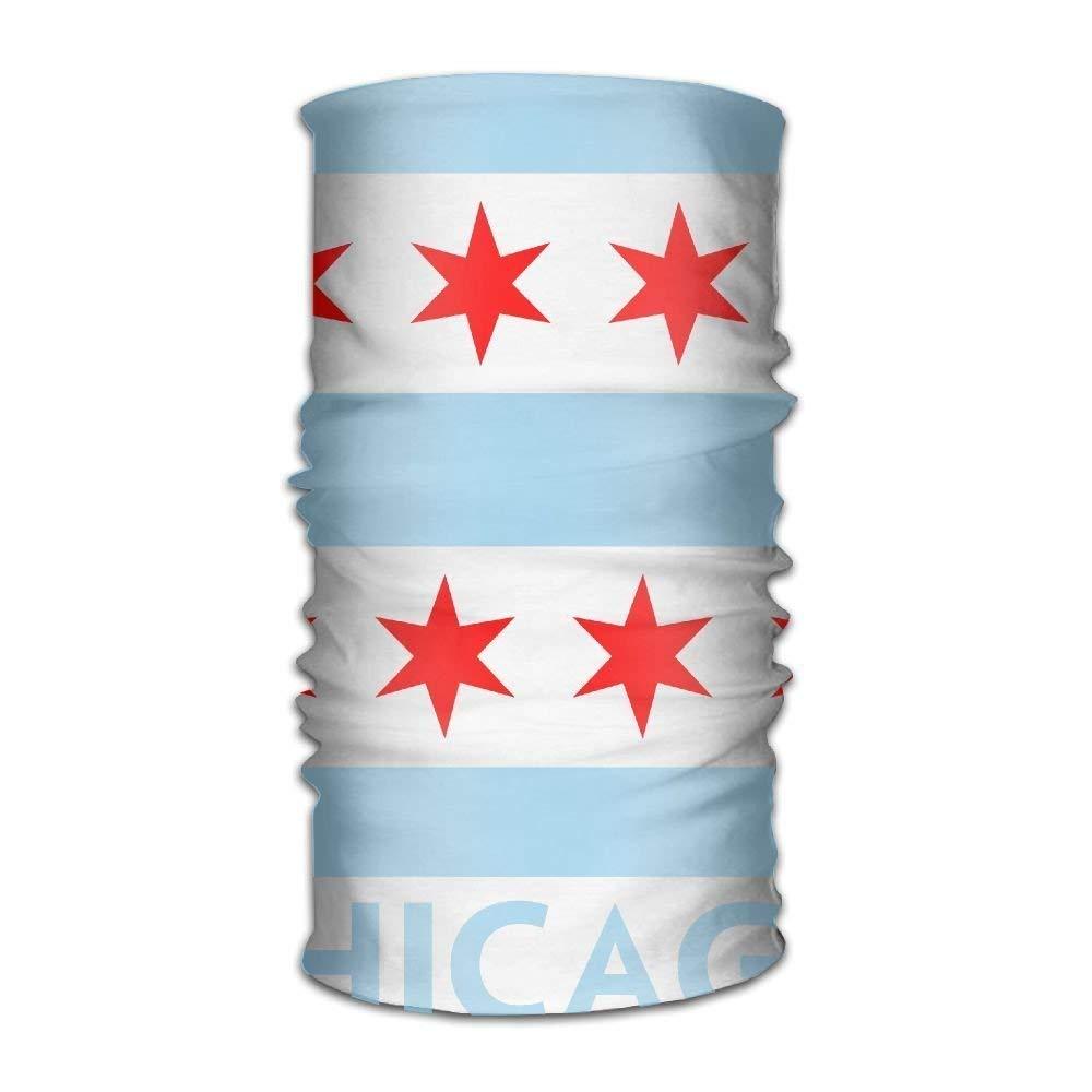 Novelcustom Unisex Stylish Chicago Flag Quick Dry Microfiber Headwear Outdoor Magic Bandana Neck Gaiter Head Wrap Headband Scarf Face Mask Ultra Soft Elastic Handscarf