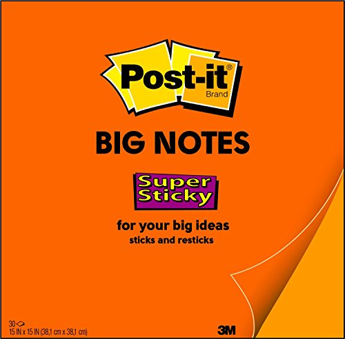 (Post-it Super Sticky Big Notes, 15 x 15 Inches, 30 Sheets/Pad, 1 Pad (BN15), Large Neon Orange Paper, Super Sticking Power, Sticks and)