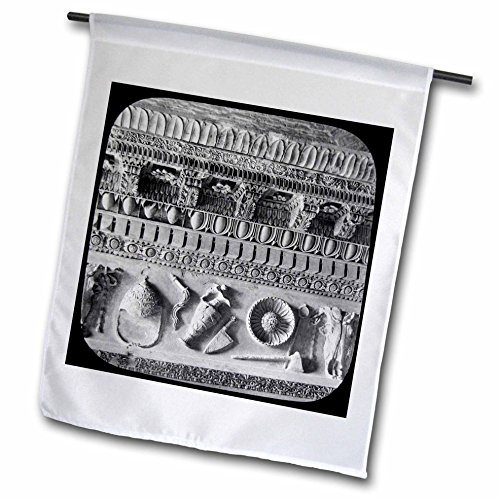 Scenes from the Past Magic Lantern Slides - Cornice from the Roman Forum Vintage Ancient Antiquities Art Studies - 12 x 18 inch Garden Flag - Forum Lantern Outdoor
