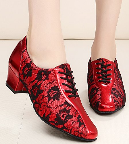 Salabobo AQQ-3003 Womens Latin Wedding Party Tango Closed Toe Low Heel PU Lace Floral Dance Shoes Red 2sIvUcqLa