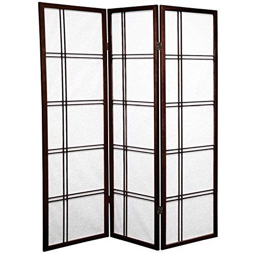 Oriental Furniture 5 ft. Tall Double Cross Shoji Screen - Walnut - 3 Panels