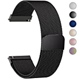 6 Colors for Quick Release Watch Strap, Fullmosa Milanese Magnetic Closure Stainless Steel Watch Band Replacement Strap for 22mm Black