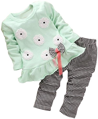 BomDeals Adorable Cute Toddler Baby Girl Clothing 2pcs Top&Pants Winter Outfits (Age(4T), Flower/Green)