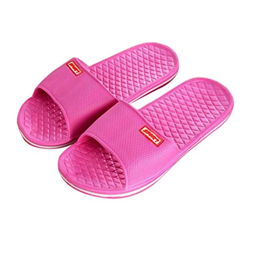 Byste Flat Bath Slippers Summer Sandals Beach Shower Shoes Anti Slip Indoor & Outdoor Home Slippers Rubber Gladiator Men Women,UK Size 3-7.5,Guests Shoes Hot Pink C